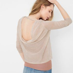 WH|BM Cowl-Back Layered Crop Sweater